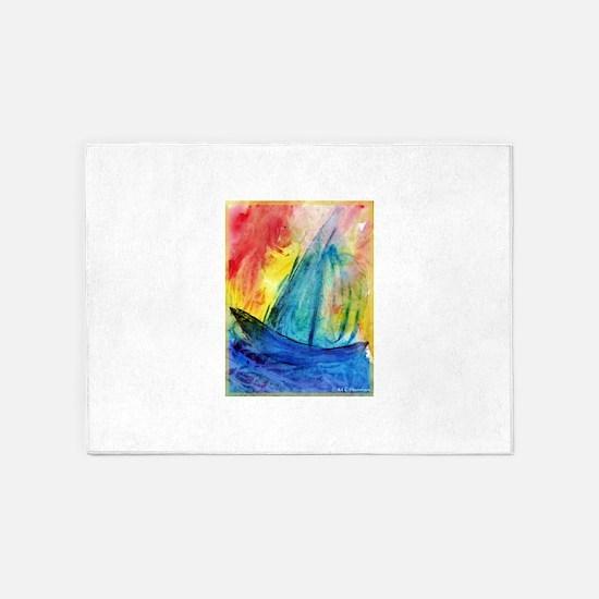 sailboat! Colorful art! 5'x7'Area Rug