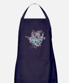 Vintage Floral and Hummingbirds Apron (dark)