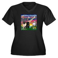 Unique Black star Women's Plus Size V-Neck Dark T-Shirt