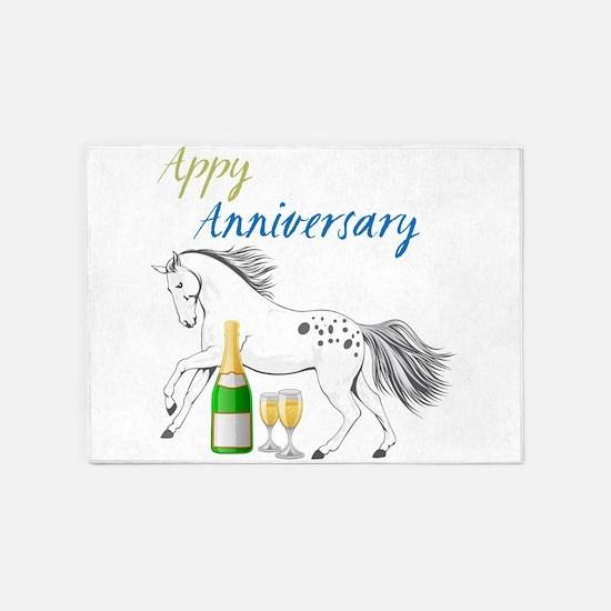 HAppy Anniversary Appaloosa Horse 5'x7'Area Rug