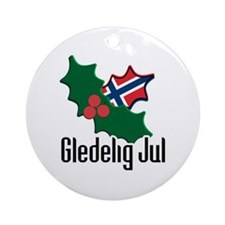 Norway Christmas Gledelig Jul Ornament (Round)