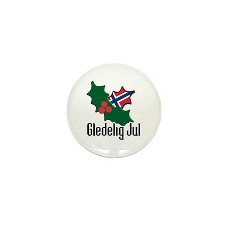 Norway Christmas Gledelig Jul Mini Button