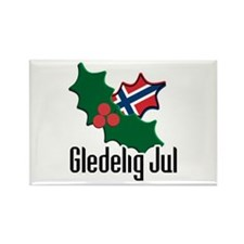 Norway Christmas Gledelig Jul Rectangle Magnet