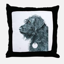 Black Labradoodle 7 Throw Pillow