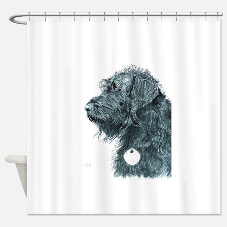 Black Labradoodle 7 Shower Curtain