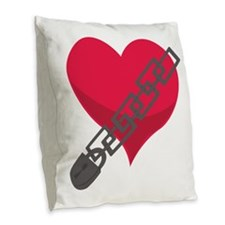 Locked Heart Burlap Throw Pillow