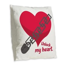 Unlock My Heart Burlap Throw Pillow