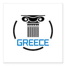 "GREECE COLUMNS Square Car Magnet 3"" x 3"""