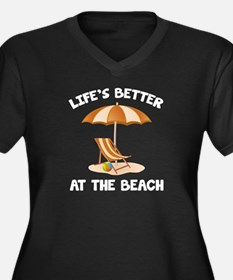 Life's Better At The Beach Women's Plus Size V-Nec