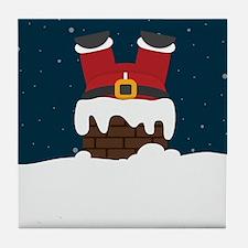 Upside Down Santa Tile Coaster