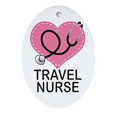 Cute Travel Nurse Ornament (Oval)