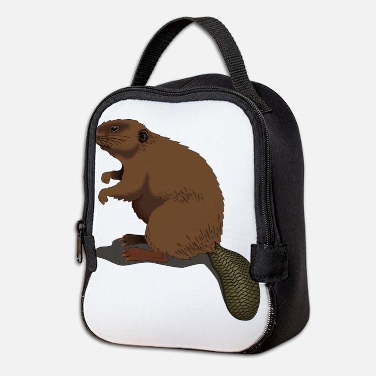 Cute Beaver Sitting Neoprene Lunch Bag