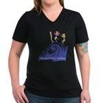 Tsunami Wave Walkers Women's V-Neck Dark T-Shirt