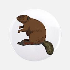 "Cute Beaver Sitting 3.5"" Button (100 pack)"