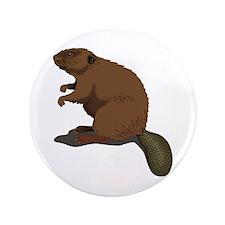 """Cute Beaver Sitting 3.5"""" Button"""