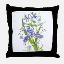 Blue Bouquet Throw Pillow