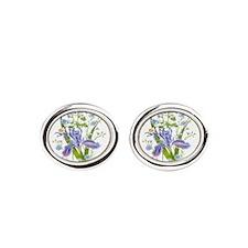 Blue Bouquet Oval Cufflinks