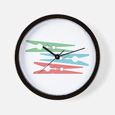 Clothespins Wall Clock