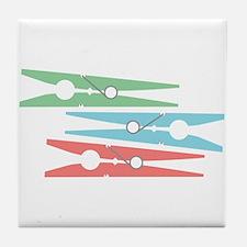Clothespins Tile Coaster