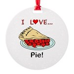 I Love Pie Round Ornament