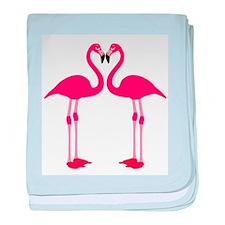 Two Cartoon Flamingos baby blanket