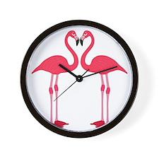 Two Cartoon Flamingos Wall Clock