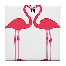 Two Cartoon Flamingos Tile Coaster