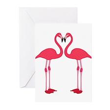 Two Cartoon Flamingos Greeting Cards