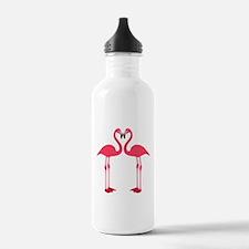 Two Cartoon Flamingos Water Bottle