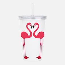 Two Cartoon Flamingos Acrylic Double-wall Tumbler