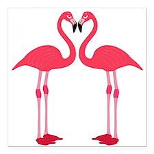 """Two Cartoon Flamingos Square Car Magnet 3"""" x 3"""""""