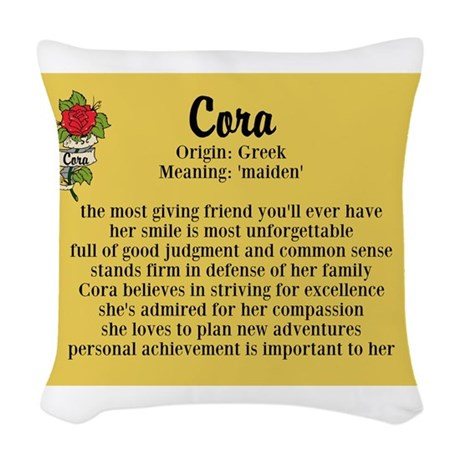 Cora Name Meaning Design Woven Throw Pillow by inspirationstation