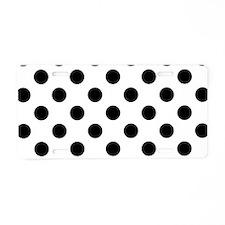 Black and White Polka Dots Aluminum License Plate