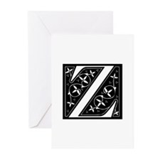 Z-fle black Greeting Cards