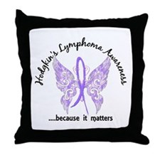 Hodgkin's Lymphoma Butterfly 6.1 Throw Pillow