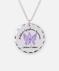 Hodgkin's Lymphoma Butterfly Necklace Circle Charm