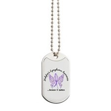 Hodgkin's Lymphoma Butterfly 6.1 Dog Tags