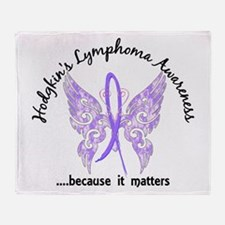 Hodgkin's Lymphoma Butterfly 6.1 Throw Blanket