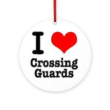 I Heart (Love) Crossing Guards Ornament (Round)
