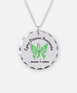 Lyme Disease Butterfly 6.1 Necklace Circle Charm