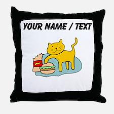 Custom Cat And Hamburger Throw Pillow