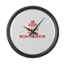Keep calm I'm an Iron Worker Large Wall Clock