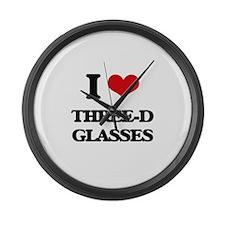 I love Three-D Glasses Large Wall Clock