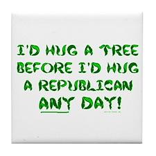 Hug a Tree Tile Coaster