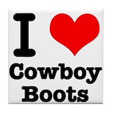 I Heart (Love) Cowboy Boots Tile Coaster