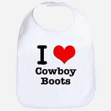 I Heart (Love) Cowboy Boots Bib