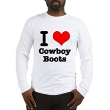I Heart (Love) Cowboy Boots Long Sleeve T-Shirt
