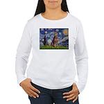 Starry / Red Doberman Women's Long Sleeve T-Shirt