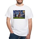 Starry / Red Doberman White T-Shirt