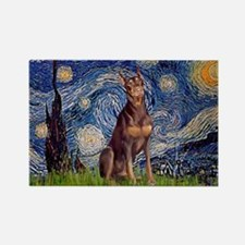 Starry / Red Doberman Rectangle Magnet